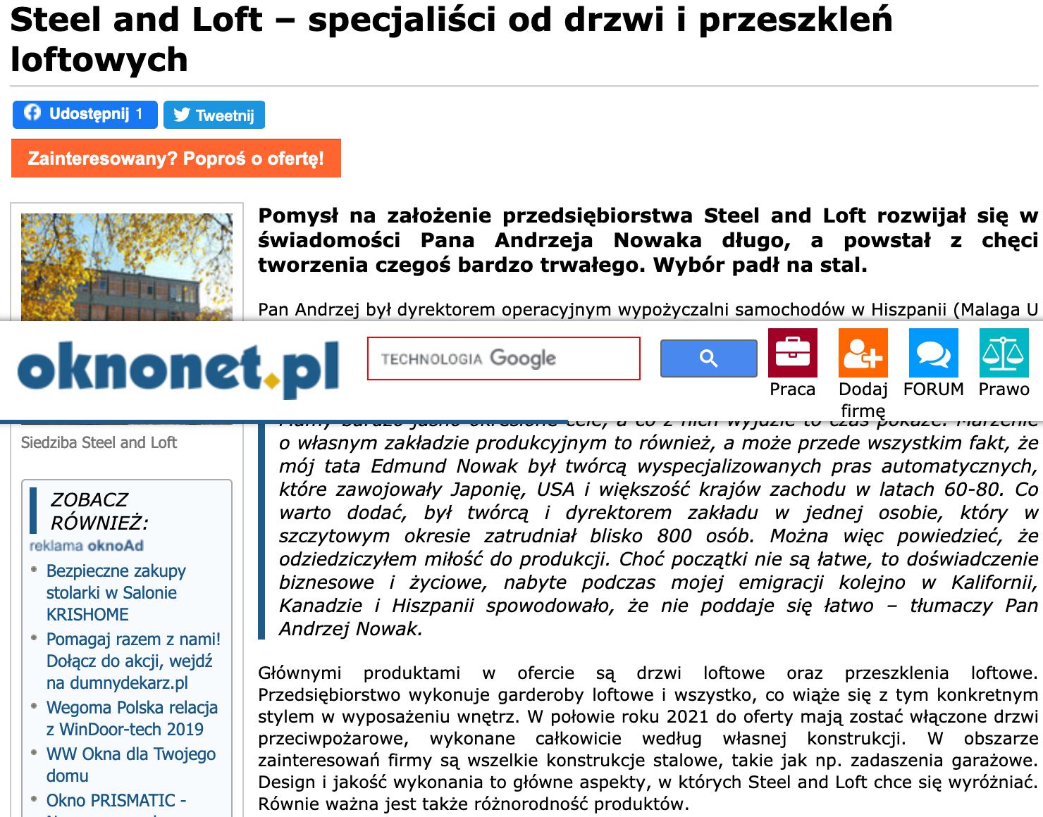 Screenshot_2021-04-08 Steel and Loft – specjaliści od drzwi i przeszkleń loftowych – Oknonet pl